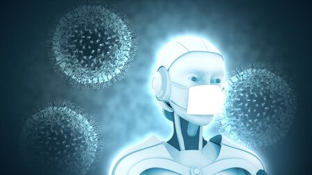 robot with medical mask protects itself from coronavirus, ideal footage for topics such as robotic medicine and virology, 3D rendering