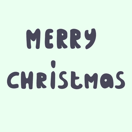 Merry christmas, brush hand lettering, isolated on light background. Vector illustration.