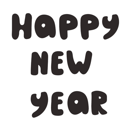 Happy new year brush hand lettering, isolated on light background. Vector illustration. Çizim