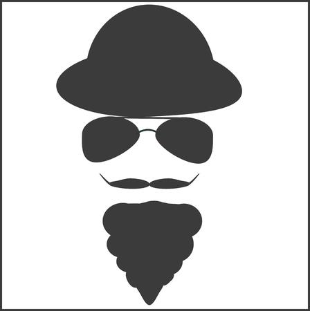 beard, mustache, hat, sunglasses Çizim