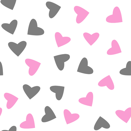 pattern of pink and gray hearts, love