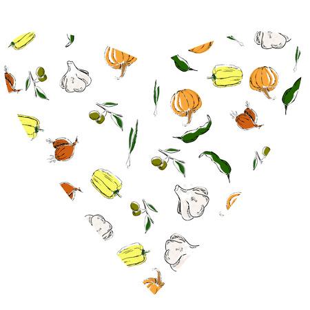 pumpkin, garlic, pepper, olive, onion, food, vegetables,