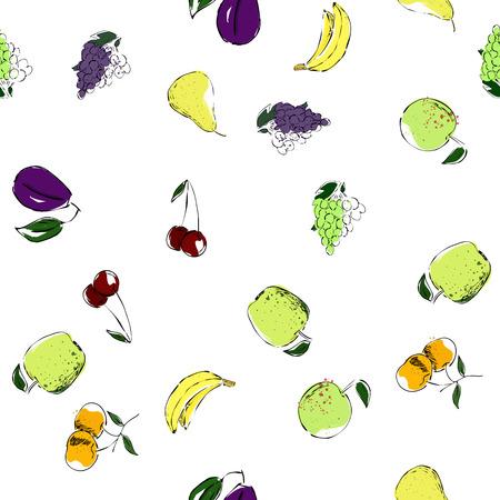 apple, banana, pear, grape, cherry, food, healthy, strawberry Çizim