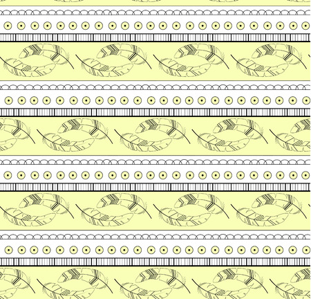 Vintage feather seamless pattern with lline and circles
