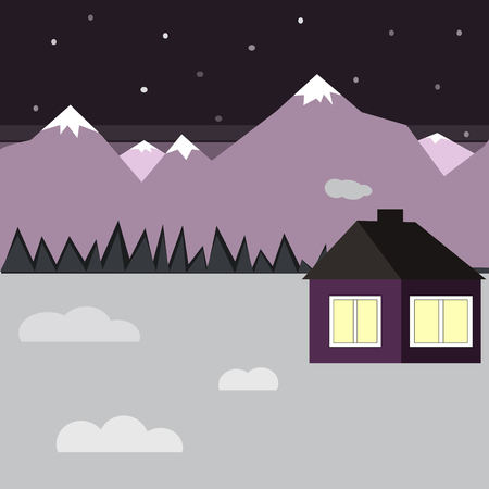 vector illustration with winter house in the snow and trees