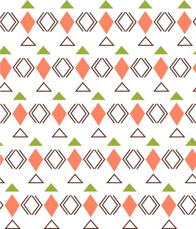 Geometric pattern with rhombus, triangle and lines elements, black and coral