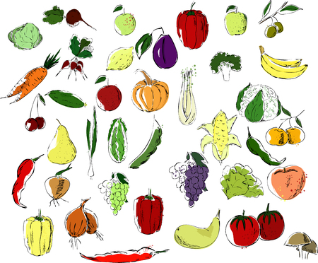A large set of multicolor fruits and vegetables black on a white background, natural products Stok Fotoğraf - 125014366