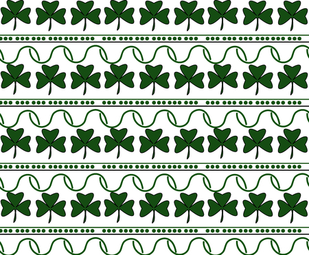 Vector Illustration of a St. Patrick Day Background. Seamless pattern with clover leaves and lines