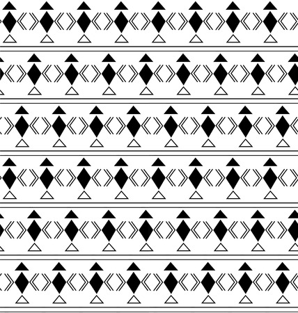 geometric pattern with rhombus, triangle and linear elements, black on white background Illustration
