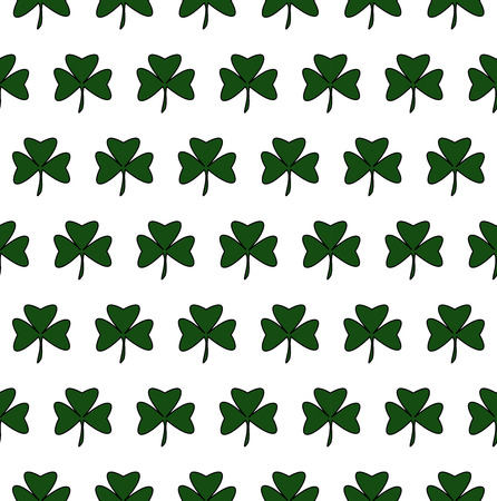 Vector Illustration of a St. Patrick Day. Seamless pattern with green clover Çizim