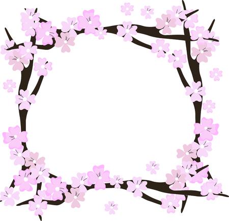Cherry blossom flowers frame. Sakura pink flowers.
