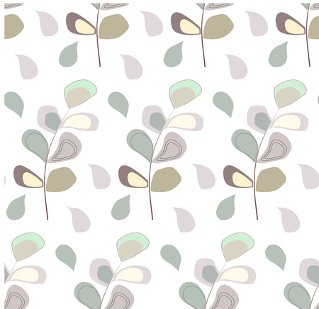 Seamless pattern with pastel flower and leaf Çizim
