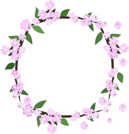 Cherry blossom flowers frame. Sakura pink flowers Çizim