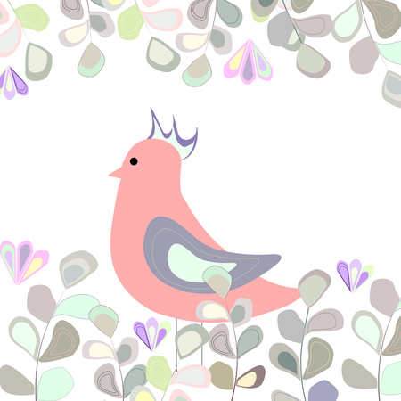 pink bird on a background of blue, green, yellow and grey leaves