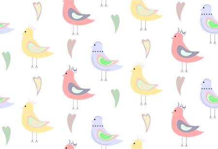 seamless pattern of bright yellow blues and pink birds