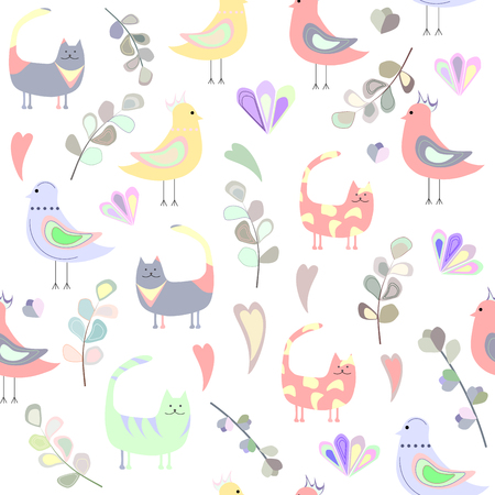 seamless pattern of cats, birds, leaves and hearts, colored hearts