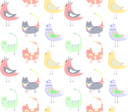 seamless pattern of cats, birds on a white background Çizim