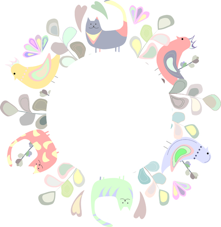 Round frame of colorful flowers, cats, birds and blue, violet, pink, yellow leaves