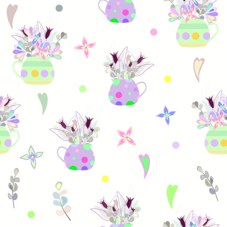 bouquet of bright colorlul flowers in a polka dot vase and hearts. seamless pattern Çizim