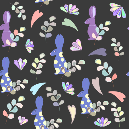 seamless pattern of rabbit, leaves and flowers, colored hearts
