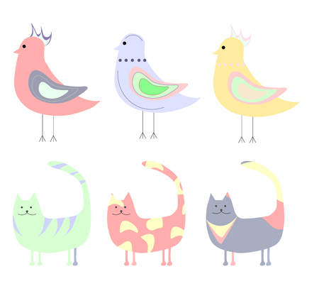 set of cute, pink blue yellow green cats and birds Çizim