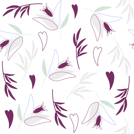 Seamless floral pattern - ultra violet colored flowers and and blue hearts