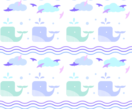 Blue whale in the sea. Waves and drops seamless pattern