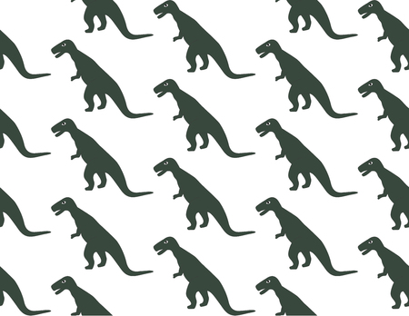Seamless pattern with ohistoric dinosaurs on the white background. green color Çizim