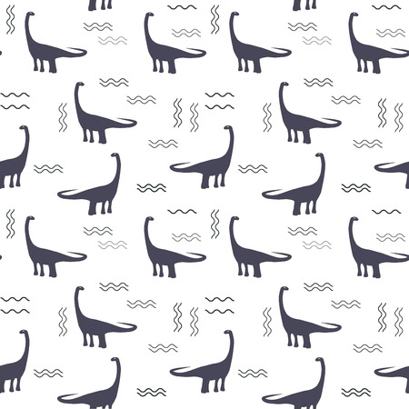 Seamless pattern with ohistoric dinosaurs on the white background.