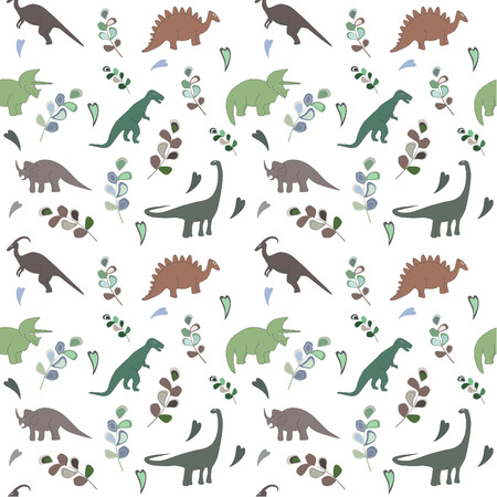 Seamless pattern with multicolors dinosaurs and leaf on the white background. green color