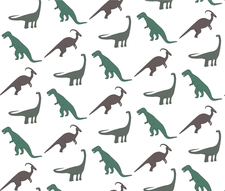 Seamless pattern with ohistoric dinosaurs on the white background. Colorful set