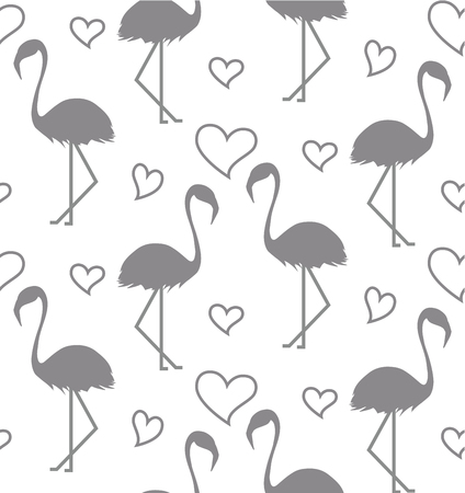 Seamless pattern with flamihgo and hearts on the white background. Monochrome background