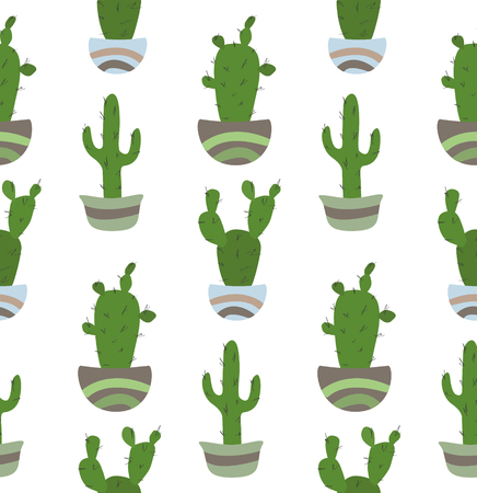 Seamless pattern with potted cactus on hte white background.