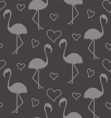 Seamless pattern with flamihgo and hearts on the gtey background. Monochrome background