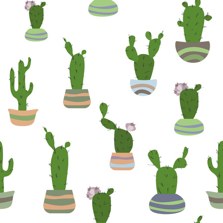 Seamless pattern with potted cactus on hte white background. Reklamní fotografie - 118460487