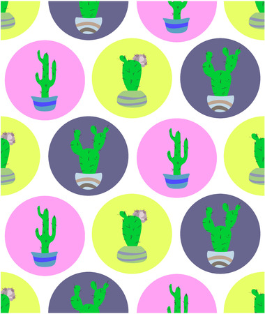 Seamless pattern with potted cactus on hte bright background. floral decoration