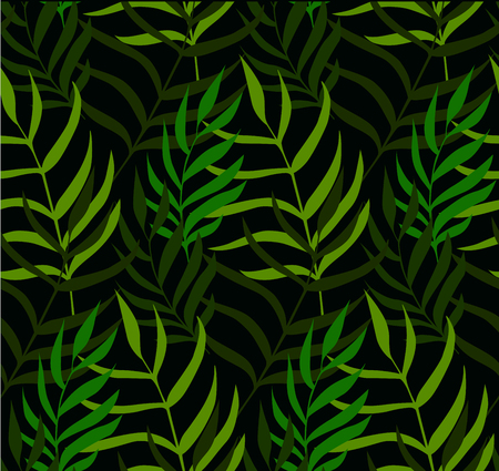 Leaves semless pattern. Tropical, herbs background. Green grass texture