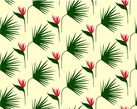 Leaves semless pattern. Tropical, flowers background. Green grass texture Çizim