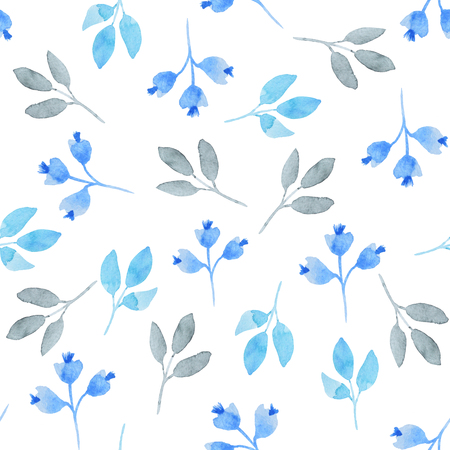 Watercolor pattern of blue leaves on the white backgroun Stock Photo