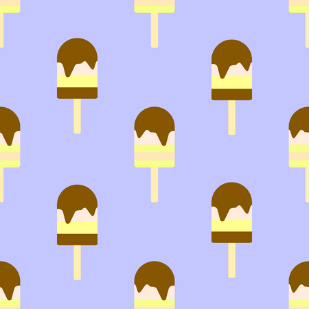 Ice cream seamless pattern. Delicious sweet desserts. Colorful summer background.
