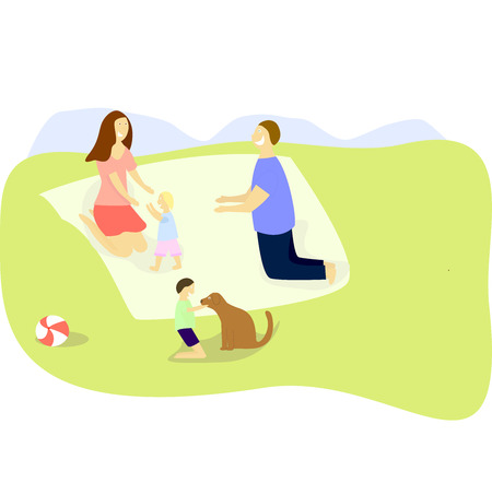 Happy family on a picnic. Dad, mom, son and daughter are resting in nature. Vector illustration in a flat style. Leisure concept