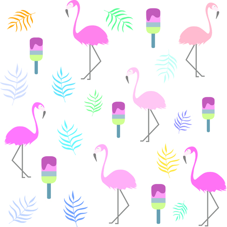 Tropical flamingo pattern. Pink flamingo, ice-cream and leaves. Summer print