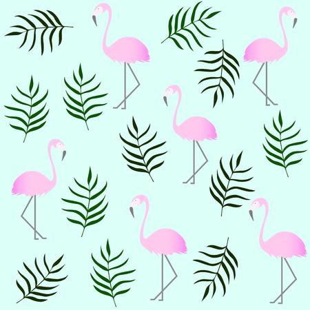 Tropical flamingo pattern. Pink flamingo and leaves. Summer print