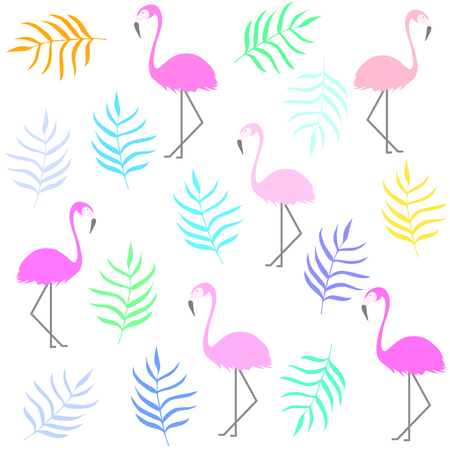 Tropical flamingo pattern. Pink flamingo and colorful leaves. Summer print Stok Fotoğraf