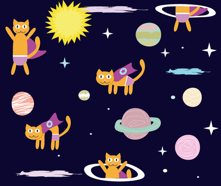 Space Cat Hero. Collection a flying cat in space, planets, rocket and stars.