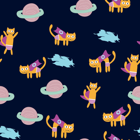 Space Cat Hero. Pattern with a flying cat in space, planets, rocket, stars. Illustration