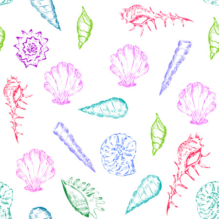 Bright and colorfull summer seamless pattern with seashells
