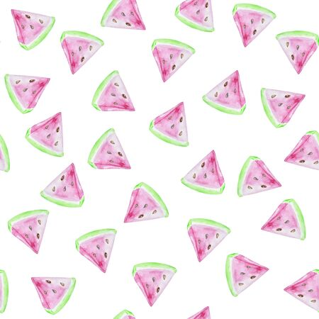 Seamless watermelons pattern. Background with watercolor watermelon slices. Stok Fotoğraf