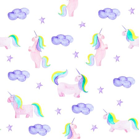 Pattern with unicorn, clound and star. Magic horse on the white background