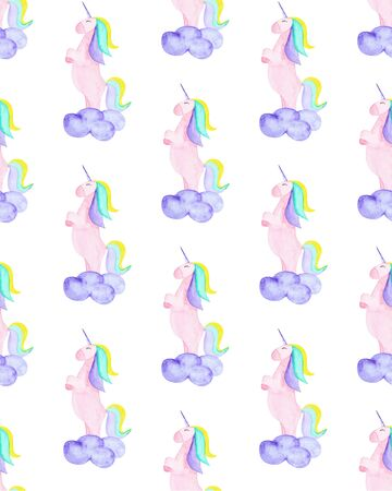 Pattern with unicorn, clound. Magic horse on the white background Stok Fotoğraf
